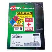 AbilityOne 7530016875089 SKILCRAFT/AVERY Surface Safe Sign Labels, 3.5 x 5, White, 4/Sheet, 15 Sheets/Box, 12 Boxes/Box