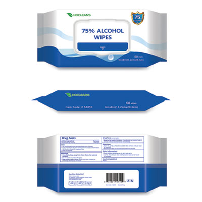 GN1 Personal Ethyl Alcohol Wipes, 6 x 8, White, 50/Pack, 24 Packs/Carton (W07524ES)