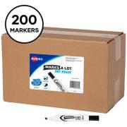 Avery MARKS A LOT Desk-Style Dry Erase Marker, Broad Chisel Tip, Black, 200/Box (24445)