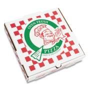"Corrugated Kraft Pizza Boxes, B-Flute, White/Red/Green, 16"" Pizza, 16 x 16 x 2.5, 50/Carton (PZCORB16P)"