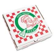 """Corrugated Kraft Pizza Boxes, E-Flute, White/Red/Green, 10"""" Pizza, 10 x 10 x 1.75, 50/Carton (PZCORE10P)"""