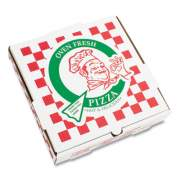 "Corrugated Kraft Pizza Boxes, B-Flute, White/Red/Green, 14"" Pizza, 14 x 14 x 2.5, 50/Carton (PZCORB14P)"