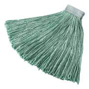 "Rubbermaid Commercial Non-Launderable Cotton/Synthetic Cut-End Wet Mop Heads, 24 oz, Green, 5"" White Headband (F13700GR00)"