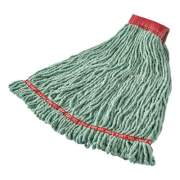 "Rubbermaid Commercial Web Foot Shrinkless Looped-End Wet Mop Head, Cotton/Synthetic, Large, Green, 5"" Red Headband (A25306GR00)"
