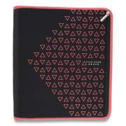 "Five Star Zipper Binder, 3 Rings, 2"" Capacity, 11 x 8.5, Black/Coral Triangles Design (24440217)"