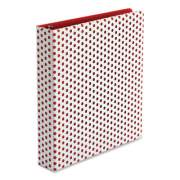 "Oxford Punch Pop Fashion Binder, 3 Rings, 1.5"" Capacity, 11 x 8.5, White/Red Polka Dot Design (24412310)"