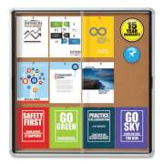 Quartet Enclosed Indoor Cork Bulletin Board w/Sliding Glass Doors, 39 x 38, Silver Frame (1153123)