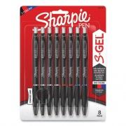 Sharpie Retractable Gel Pen, Medium 0.7 mm, Assorted Ink, Black Barrel, 8/Pack (24424405)