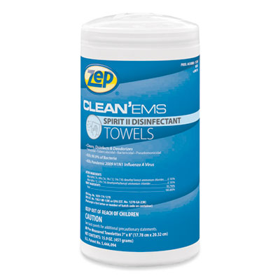 Zep Clean'Ems Spirit II Towels, 8 x 7, Citrus, 80/Canister, 6 Canisters/Carton (650880)