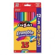 Cra-Z-Art Erasable Colored Pencils, 15 Assorted Lead/Barrel Colors, 15/Set (1045948)