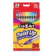 Cra-Z-Art Twist Up Colored Pencils, 24 Assorted Lead Colors, Clear Barrel, 24/Set (1046224)