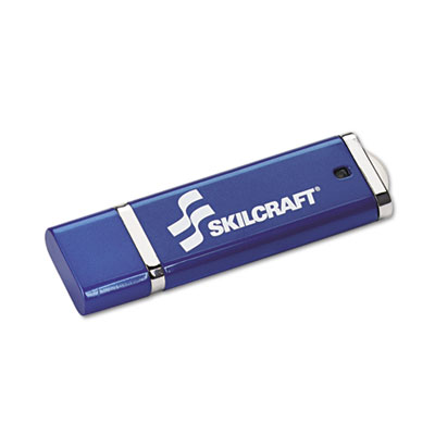 AbilityOne 7045017045015584993, SKILCRAFT USB Flash Drive with 256-Bit AES Encryption, 8 GB, Blue