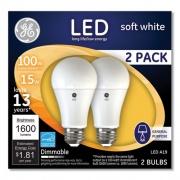GE 100W LED Bulbs, 15 W, A19, Soft White, 2/Pack (93127668)