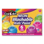 Cra-Z-Art Neon Washable Kids' Paint, 6 Assorted Colors, 2 oz, 6/Set (106466)