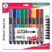 Pentel Opaque Bullet Tip Paint Markers, Medium Bullet Tip, Assorted Colors, 9/Pack (2804256)