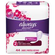 Always Discreet Incontinence Liners, Very Light Absorbency, Long, 44/Pack (92724PK)