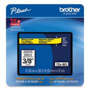 """Brother TZe Laminated Removable Label Tapes, 0.35"""" x 26.2 ft, Black on Yellow (TZE621CS)"""