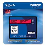 """Brother TZe Laminated Removable Label Tapes, 0.47"""" x 26.2 ft, Black on Red (TZE431CS)"""