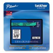 """Brother TZe Laminated Removable Label Tapes, 0.35"""" x 26.2 ft, Black on Green (TZE721CS)"""