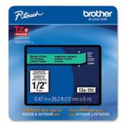 """Brother TZe Laminated Removable Label Tapes, 0.47"""" x 26.2 ft, Black on Green (TZE731CS)"""