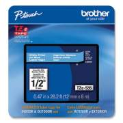 """Brother TZe Laminated Removable Label Tapes, 0.47"""" x 26.2 ft, White on Blue (TZE535CS)"""