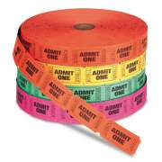 Iconex Admit One Single Ticket Roll, Numbered, Assorted, 2000/Roll, 4 Rolls/Pack (22410)