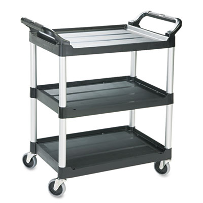 Rubbermaid Commercial Economy Plastic Cart, Three-Shelf, 18.63w x 33.63d x 37.75h, Black (FG342488BLA)