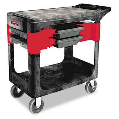 Rubbermaid Commercial Trades Cart, Two-Shelf, 19.25w x 38d x 33.38h, Black (FG618000BLA)