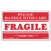 Universal Printed Message Self-Adhesive Shipping Labels, FRAGILE Handle with Care, 3 x 5, Red/Clear, 500/Roll (308383)