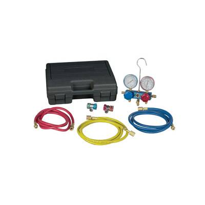Robinair 43166 Aluminum 4-Way Manifold Digital Gauge Set w//Hoses for use with 17 Refrigerants